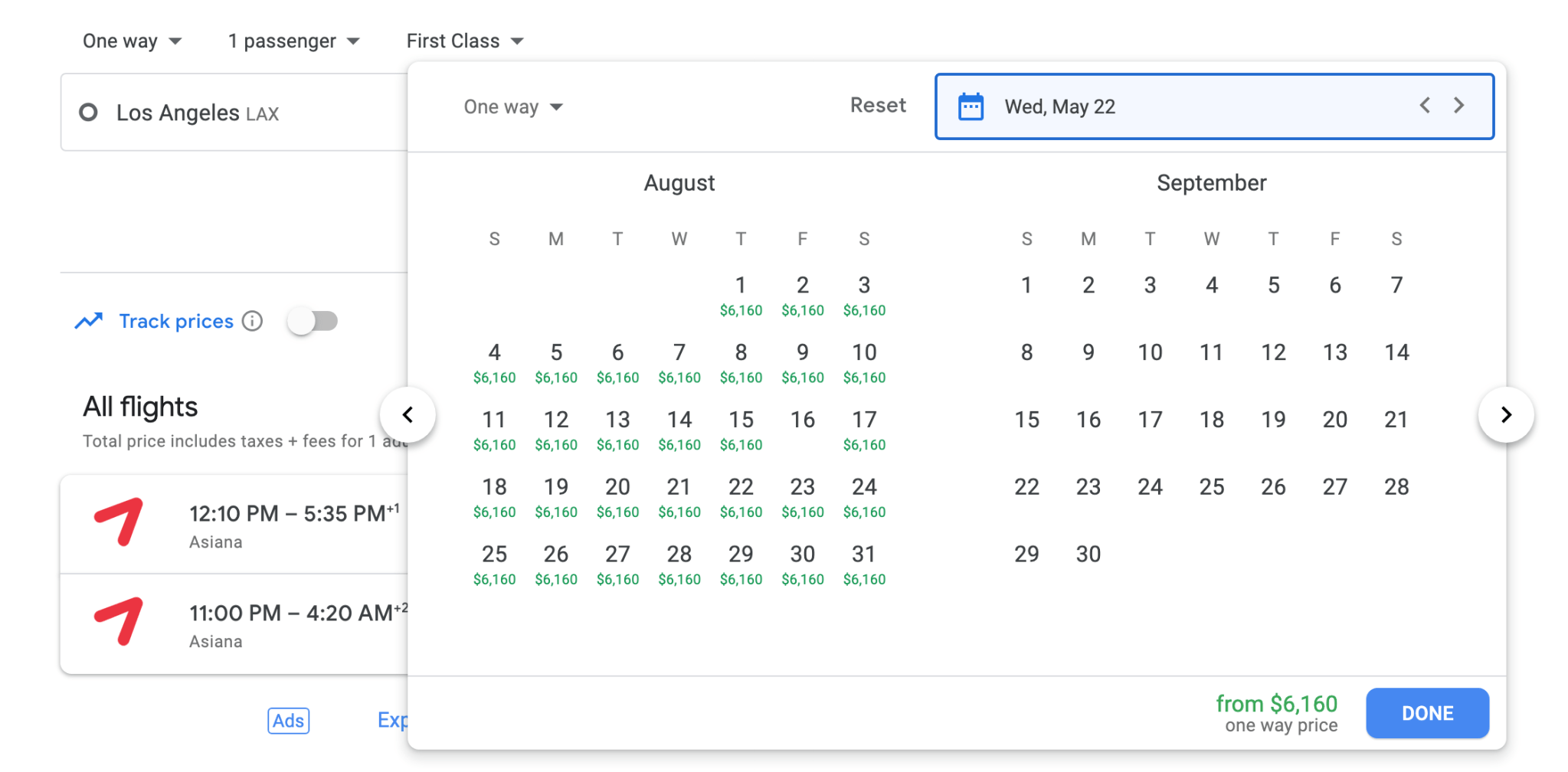 Google Flights showing Asiana Airlines First Class availability from LA to Seoul