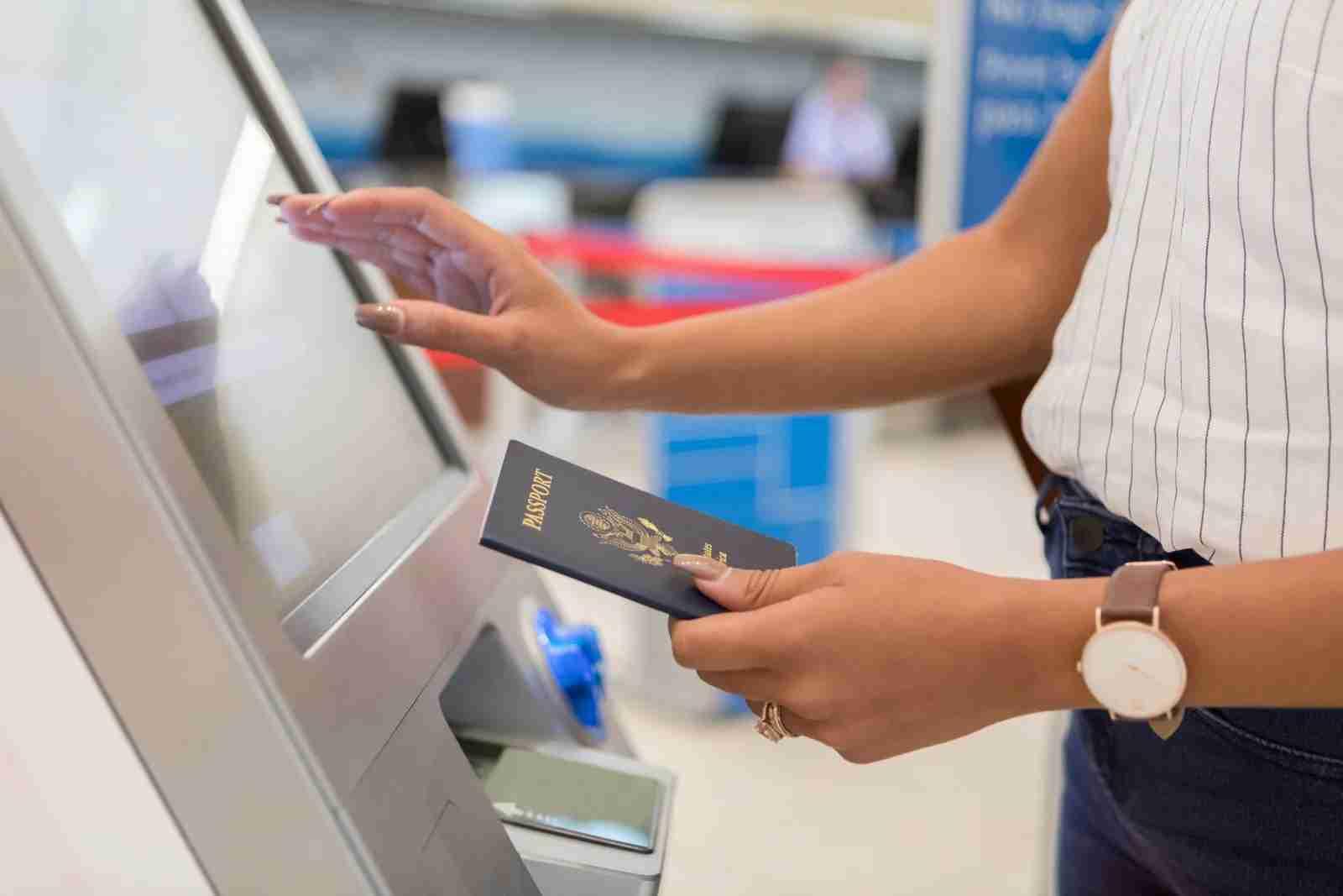 Airport Customs Checkin Kiosk with US Passport