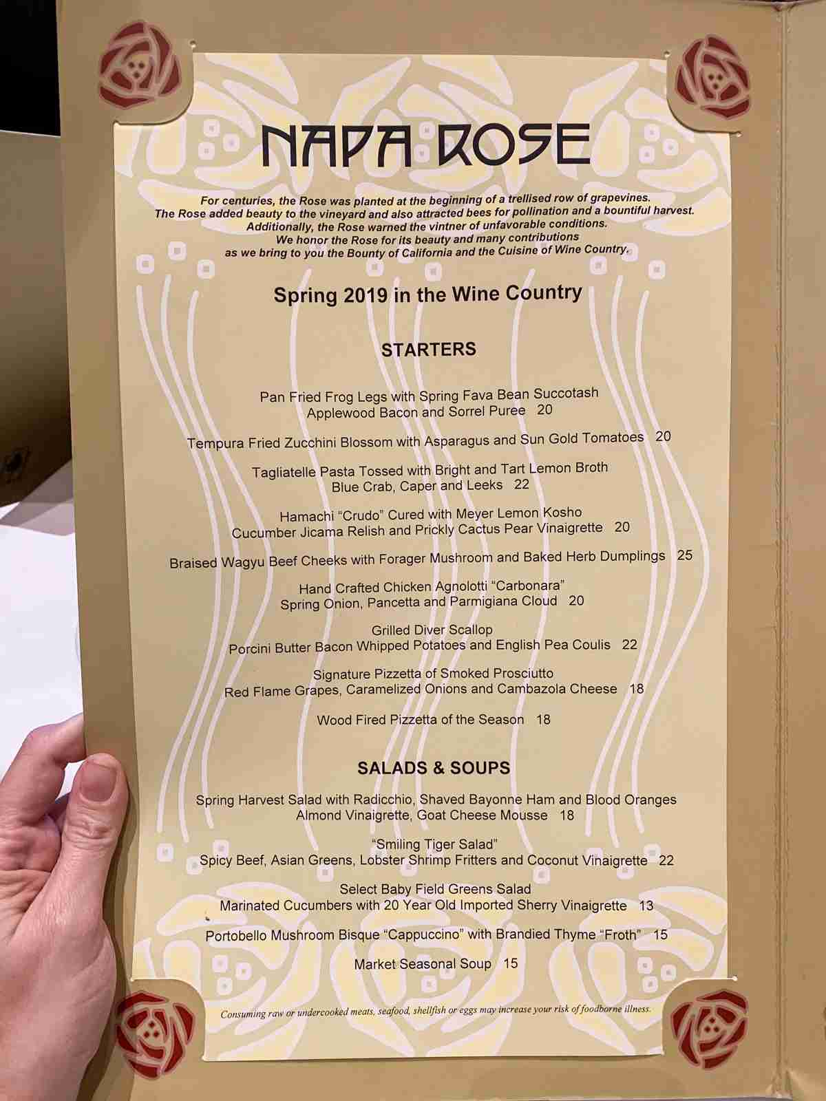 Disneyland Grand Californian Hotel Menu