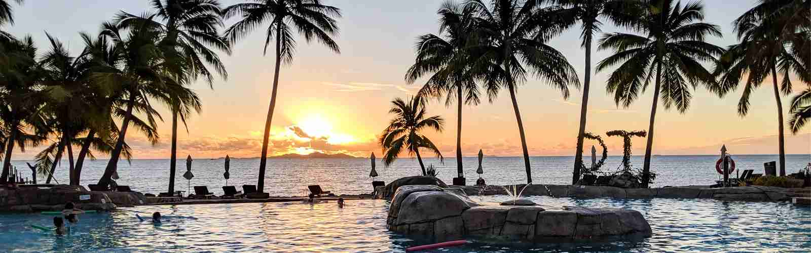 Hilton Doubletree Fiji pool sunset