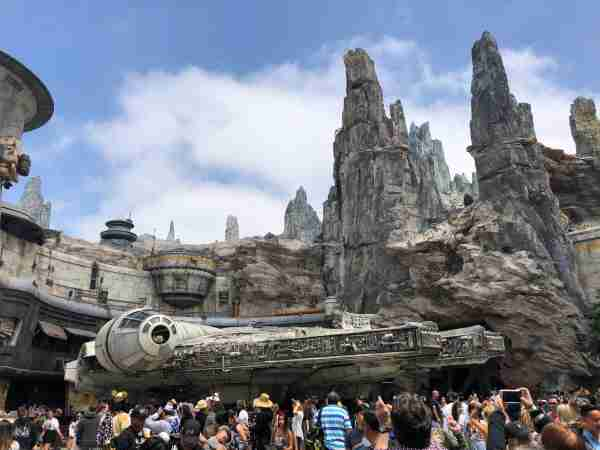 Crowds queue around the Millennium Falcon.(Image by Leslie Harvey.)