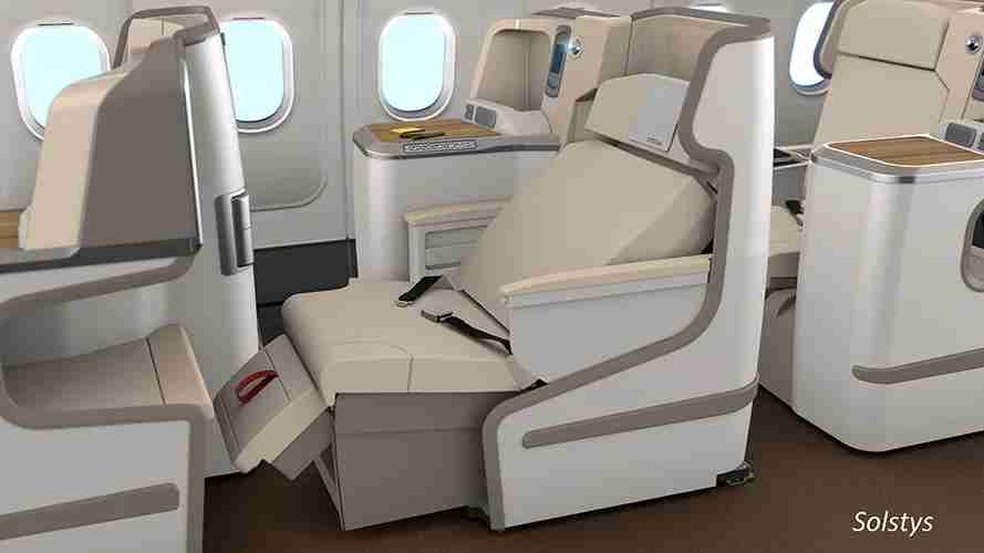 Pakistan International Airlines is slated to introduce the Stelia Solysts business class product on select Boeing 777s. (Image via Stelia Aerospace)