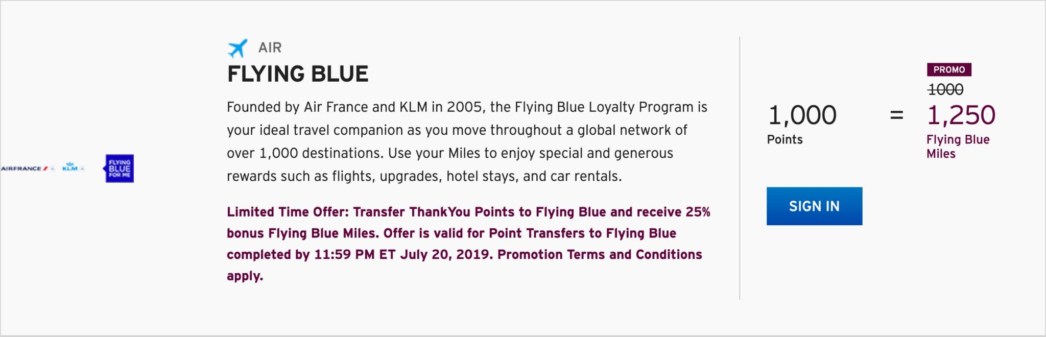 Receive a 25% bonus through July 20th when you transfer Citi ThankYou points to Air France FlyingBlue. (Image via Citi)