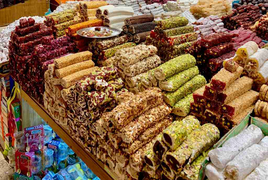 Rolls of Turkish Delight covered in nuts, rose petals, and dried fruit. Photo: Melanie Haiken