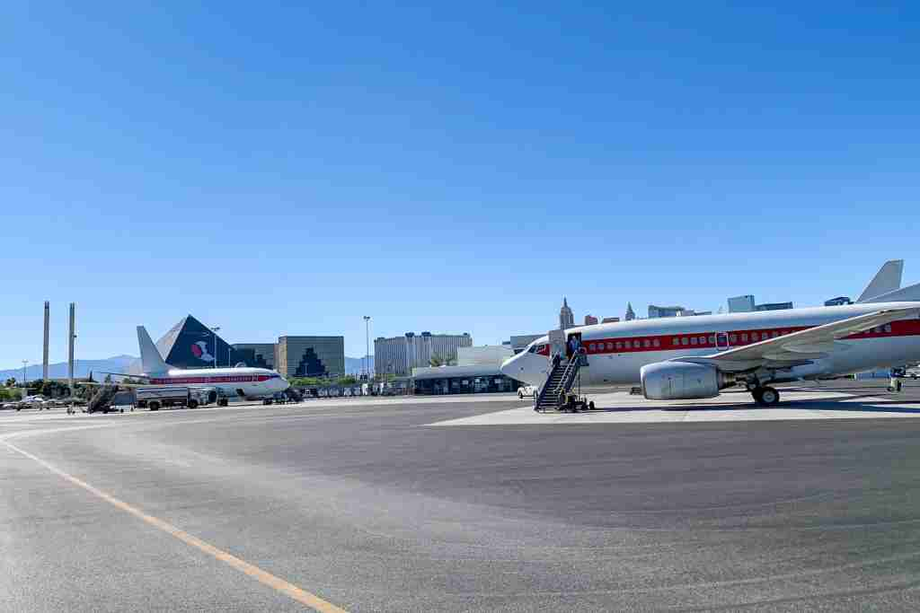 Although the airline is highly secretive, plane spotters stationed in hotels on the Vegas strip can see its aircraft unobstructed. Photo by Scott Mayerowitz/TPG.