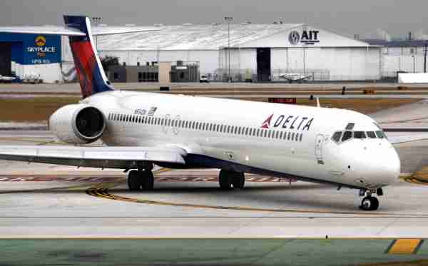SAN ANTONIO, TEXAS - DECEMBER 12, 2018: A Delta Airlines McDonnell Douglas MD-90 passenger jet taxis after landing at San Antonio International Airport in Texas. (Photo by Robert Alexander/Getty Images)