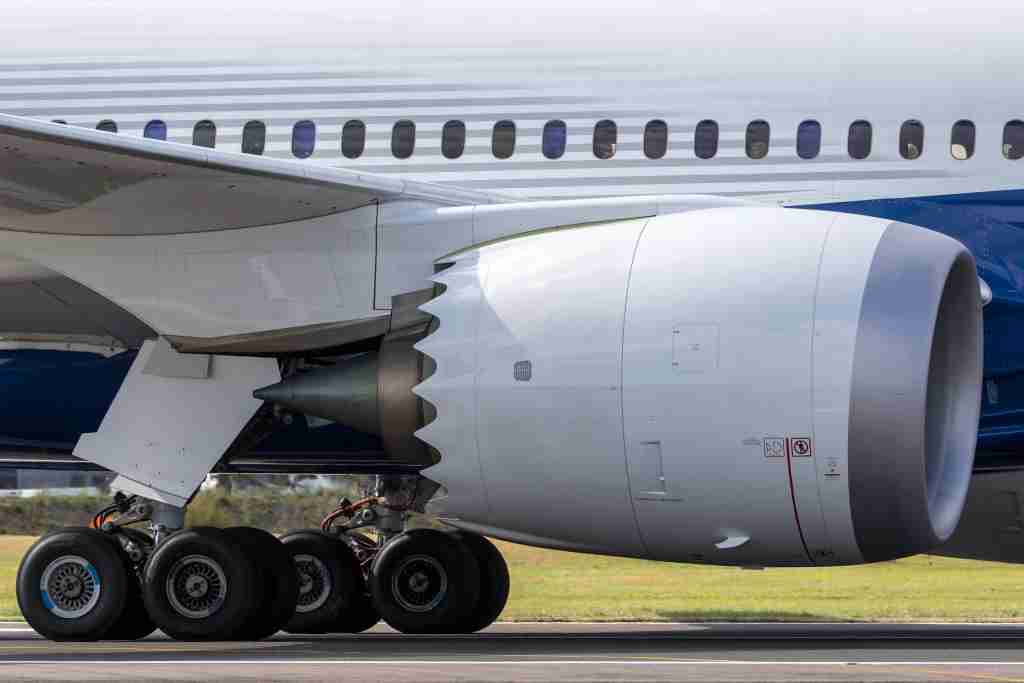 Close up view of engine and landing gear of Boeing