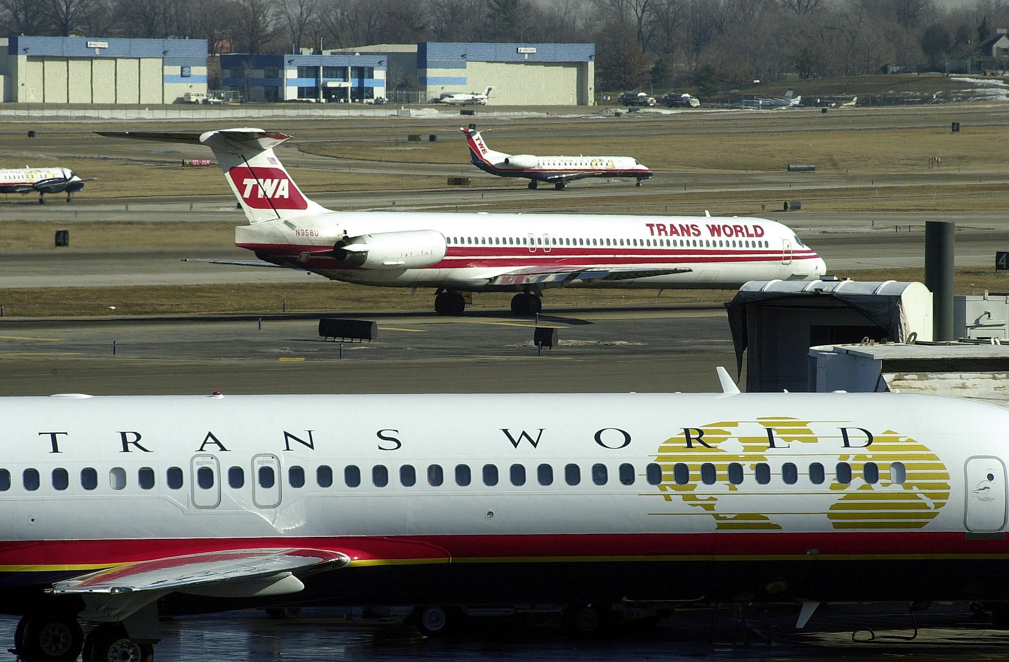 Trans World Airlines aircraft are seen at St. Louis-Lambert International Airport. (Photo by Bill Greenblatt/Liaison)