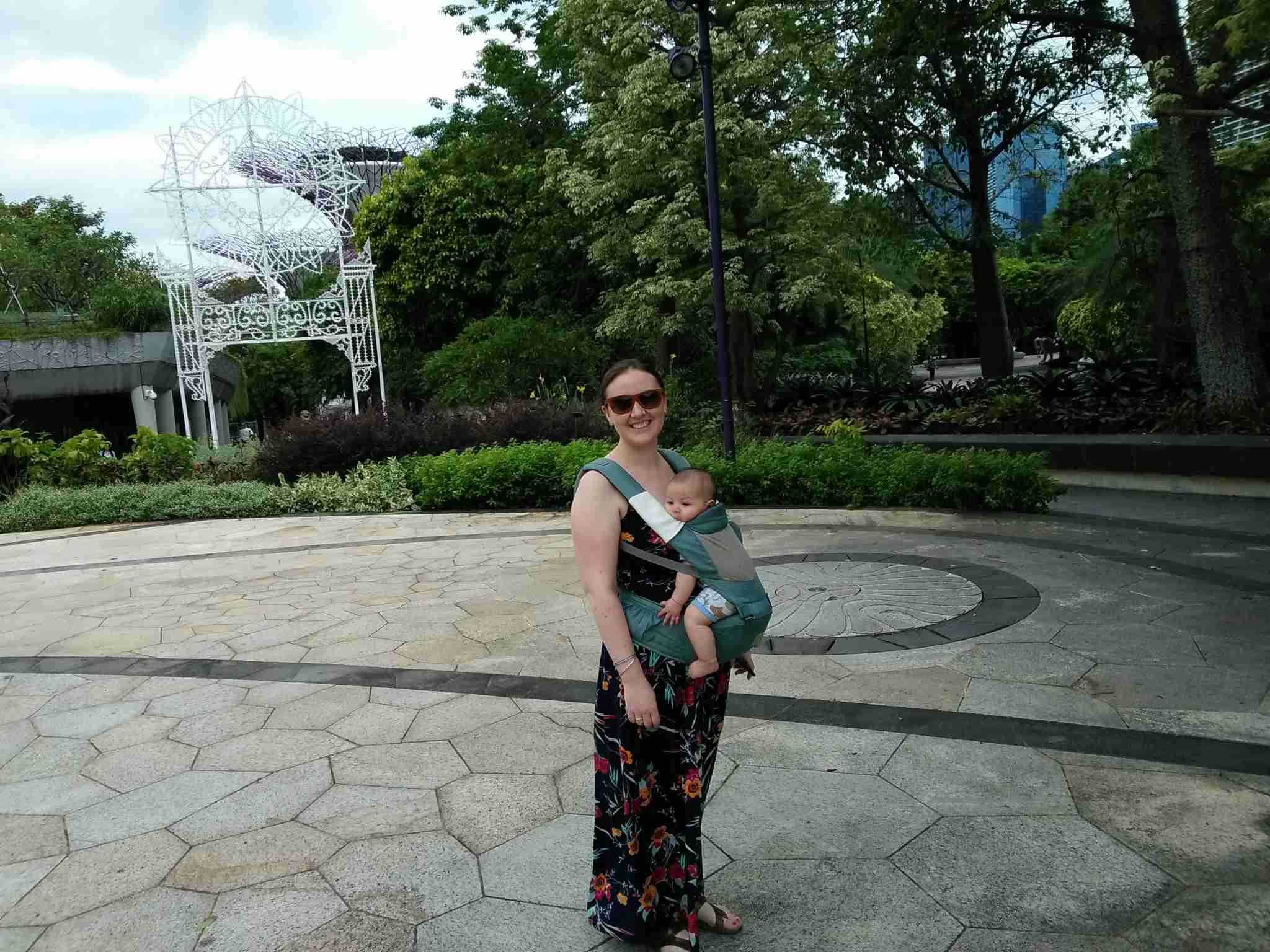 Sightseeing at the Gardens by the Bay in Singapore when my daughter was four months old. Photo by Elen Turner
