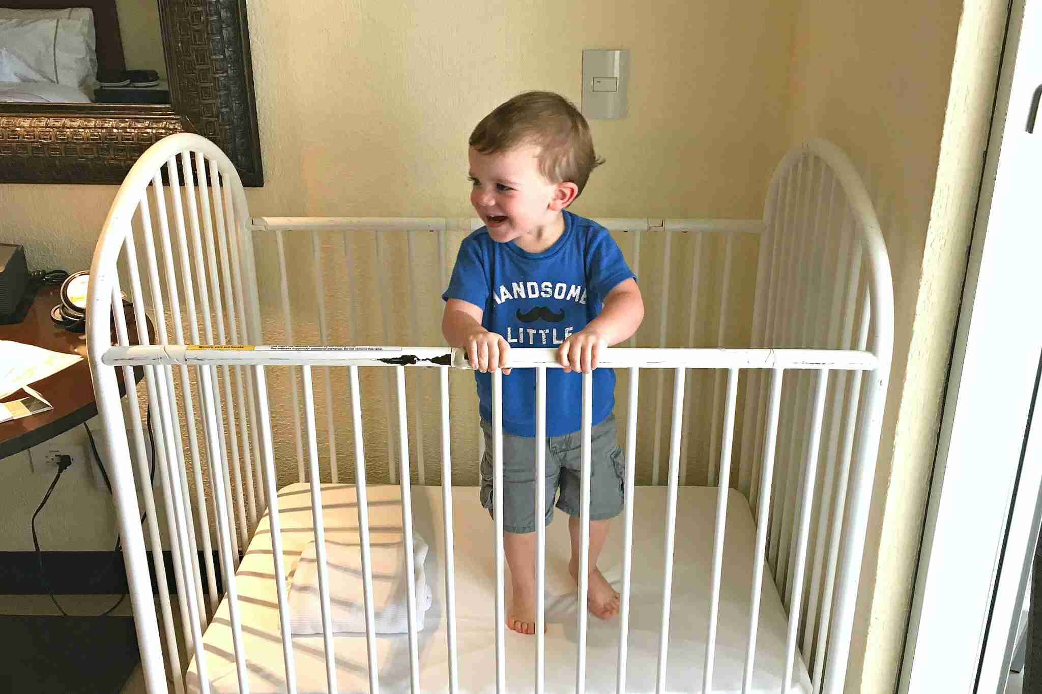 Hotel cribs may not always be up to safety standards. (Image by Leslie Harvey.)