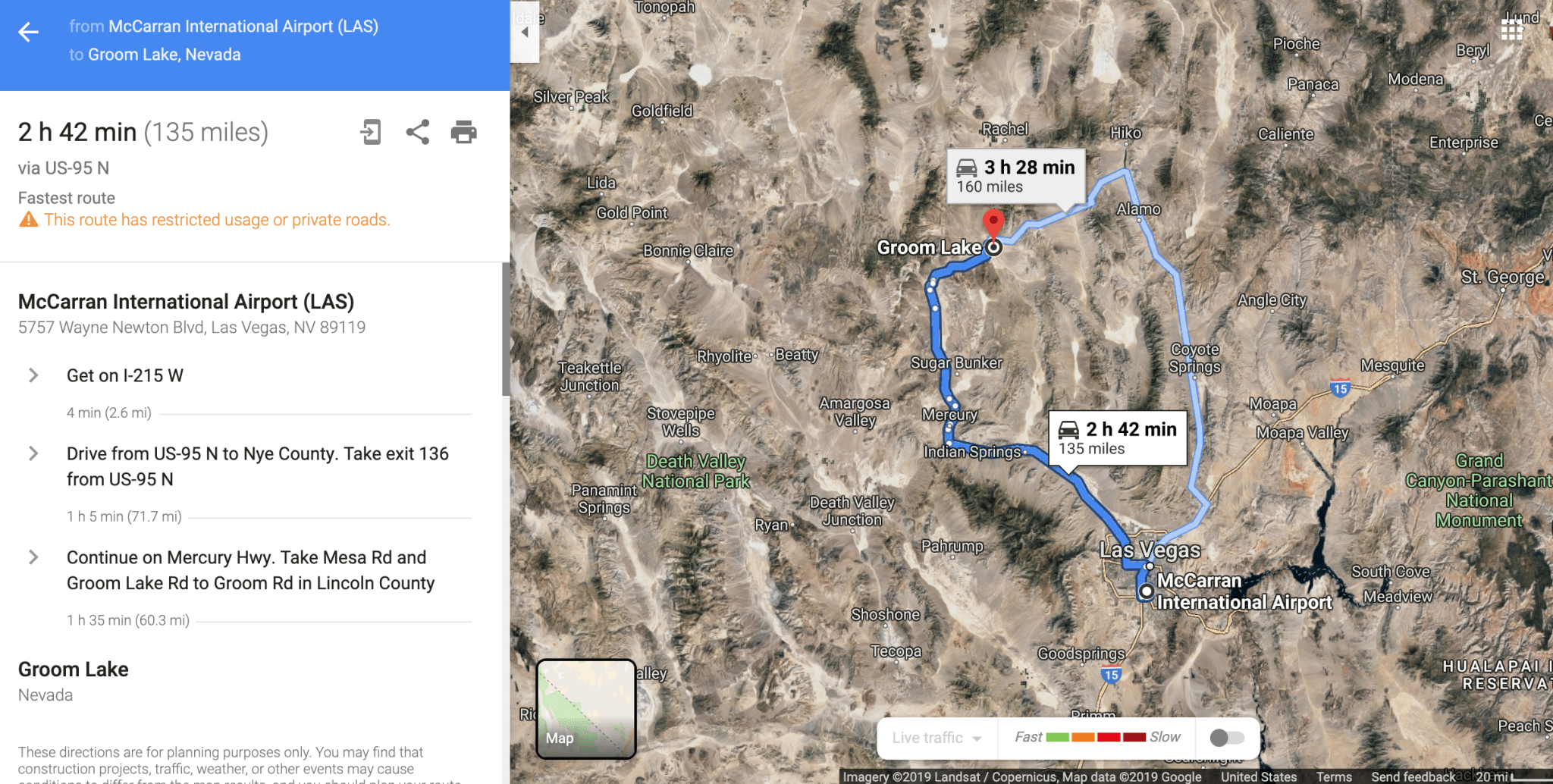 The drive from Las Vegas International Airport to Groom Lake home to Area 51. (Image via Google Maps)