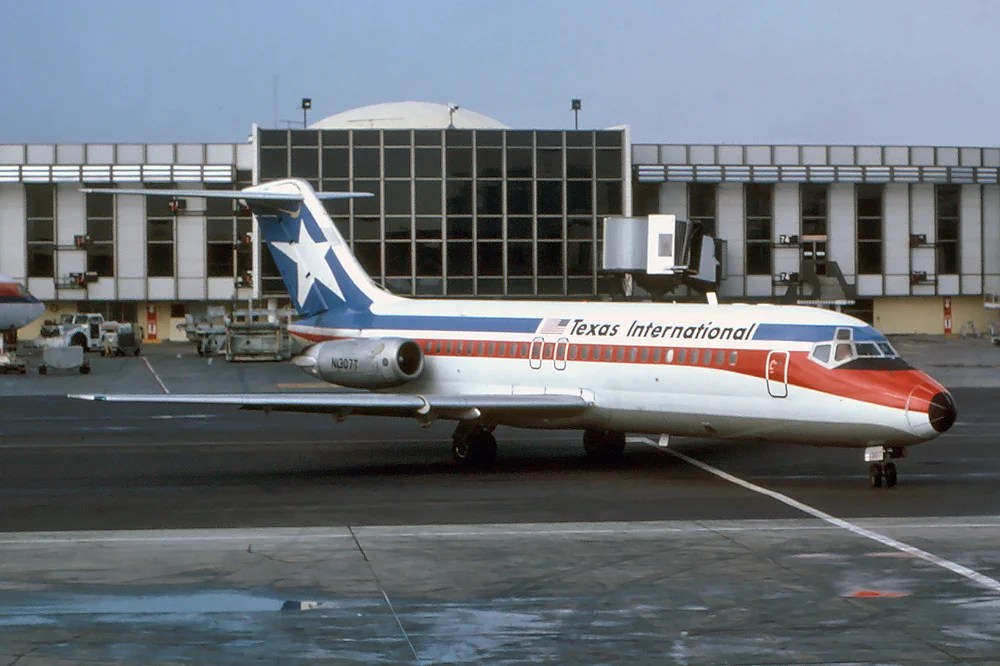 Texas International Airlines DC 9-15 at Los Angeles International Airport in 1979. (Photo by Richard Silagi / Wikipedia)