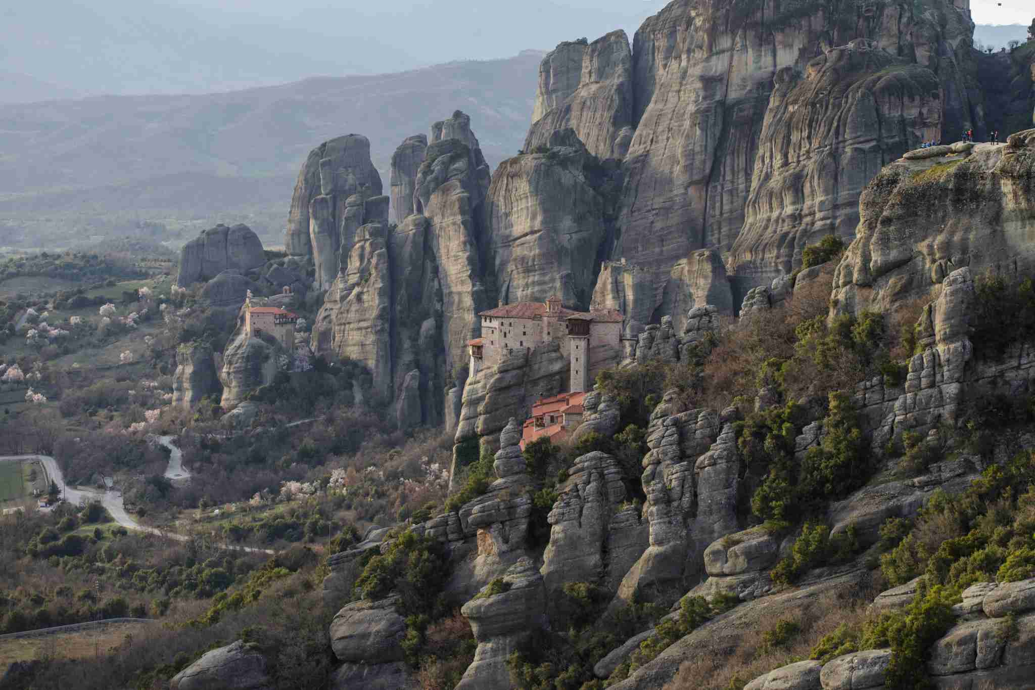 General view of Meteora Monasteries In Greece on 8 March 2019. Meteora is a setting of overwhelming rock formations located in central Greece.It is a pilgrimage to a holy place for all Christians around the world. Meteora has become a preservation ark for the 2000-year-old Christian Orthodox creed. It is a big touristic place from all over the world during all the time of the year. (Photo by Achilleas Chiras/NurPhoto via Getty Images)