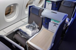 ANA's A380 business class seat. Photo Courtesy TPG's Zach Honey.