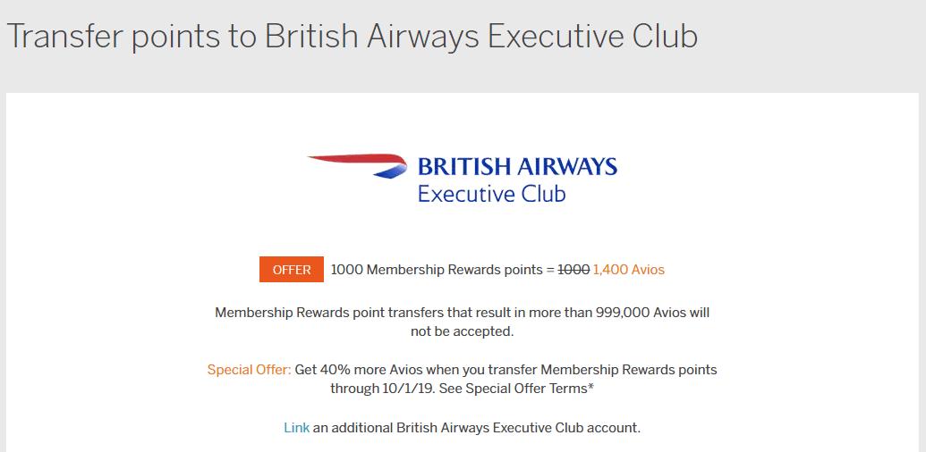 Get a 40% Bonus for Transferring Membership Rewards to Avios