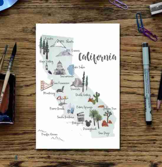 A picture map of California is yours for the buying at a SouveNEAR vending machine at the Sacramento airport. (Image courtesy of SouveNEAR)