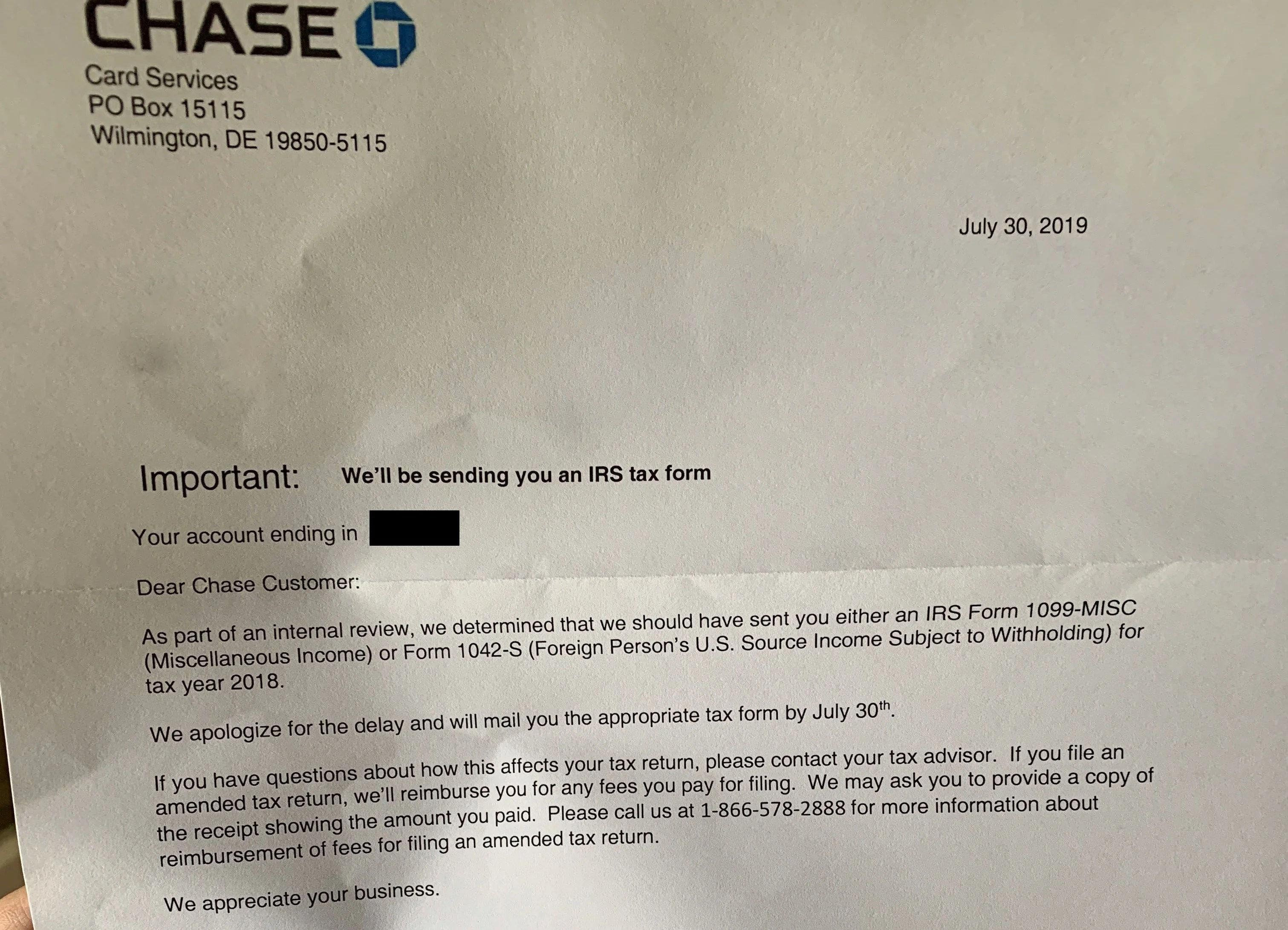 Chase Is Sending New 1099s to Cardholders Reporting Referral Income