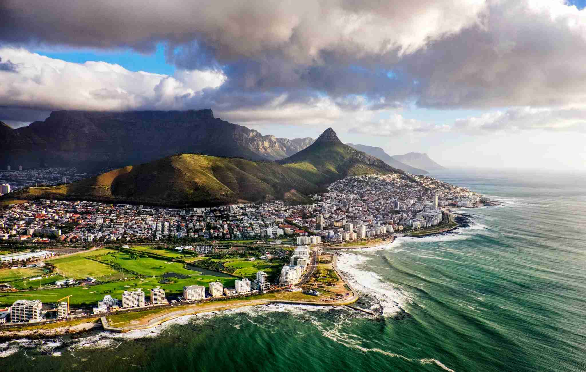 Sprawling view of Cape Town and the Mountains that frame it, Table Mountain and Lion