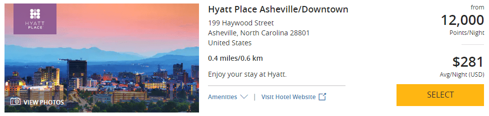 Hyatt Place Asheville Downtown December 2019 prices