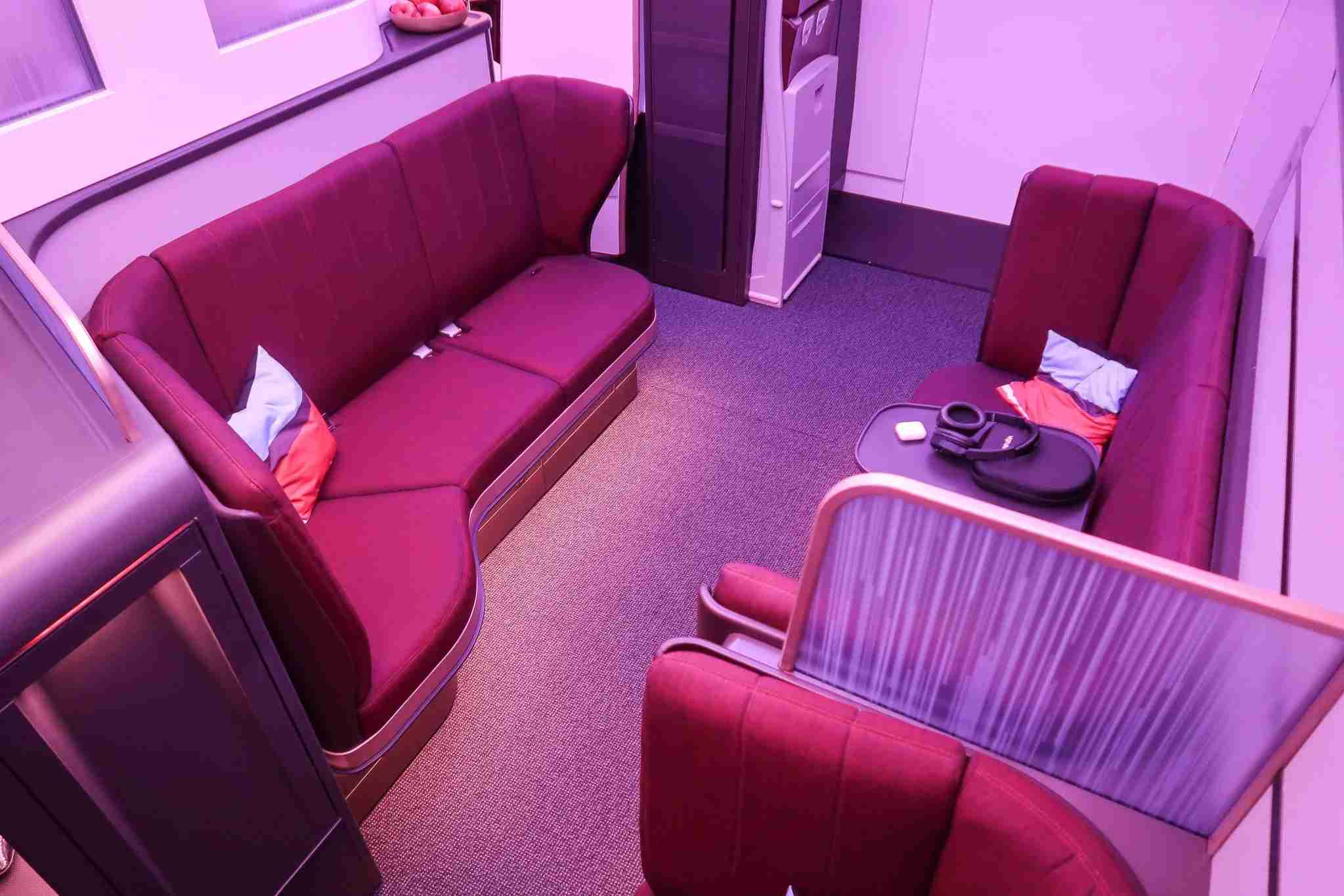 The new Virgin Atlantic Upper Class Lounge found on the Airbus A350-1000. (Image by Nicky Kelvin / The Points Guy)