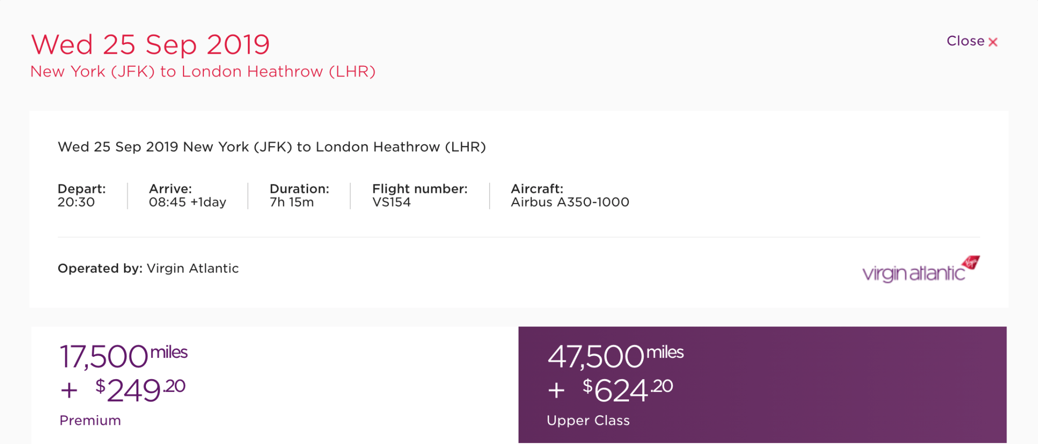 Premium and Upper Class award pricing and availability for a fight operated by Virgin