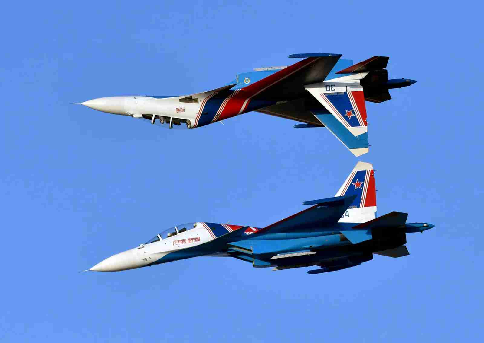 Two Sukhoi Su-30 Flanker of the Russian Air Force