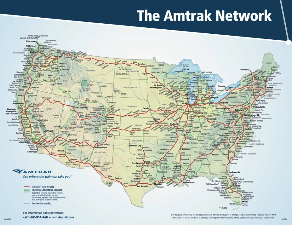 What routes does Amtrak serve?