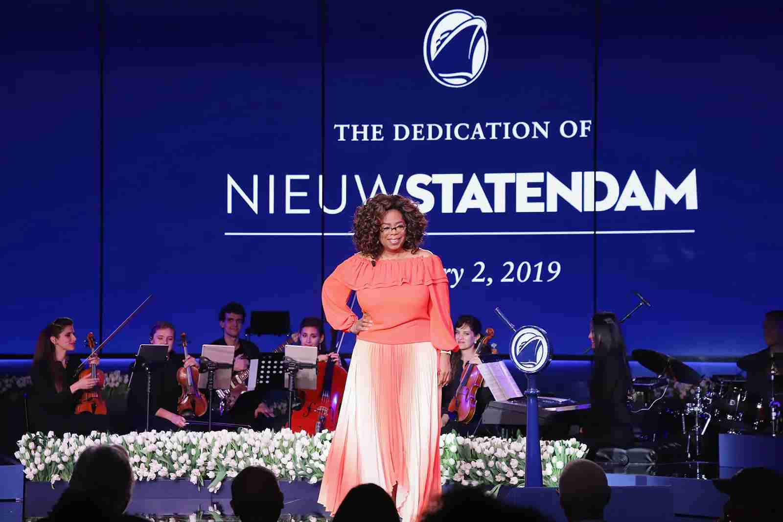 FORT LAUDERDALE, FL - FEBRUARY 02:  Godmother Oprah Winfrey speaks onstage during the Holland America Line and Nieuw Statendam Dedication with Godmother Oprah Winfrey at Port Everglades on February 2, 2019 in Fort Lauderdale, Florida.  (Photo by John Parra/Getty Images for Holland America)
