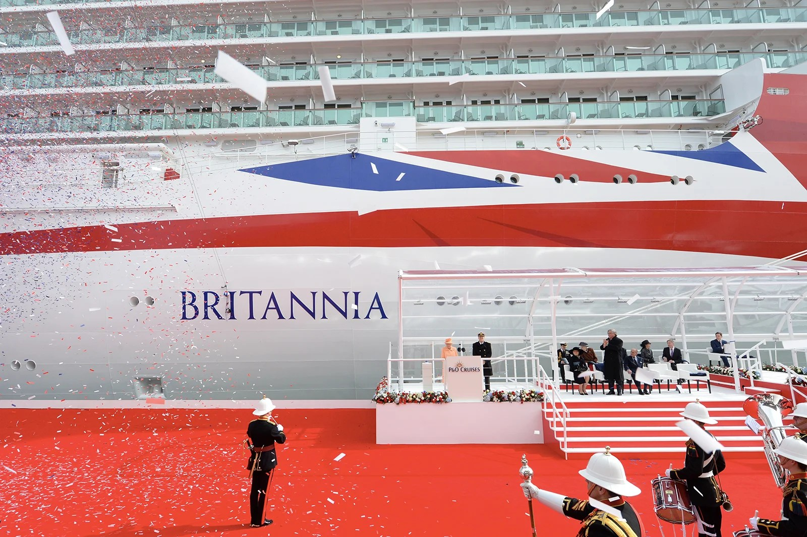 HM the Queen attends the opening of Britannia, P&O UK's largest ever ship built for the UK market on March 10 2015 in United Kingdom. (Photo by James D. Morgan/Getty Images)