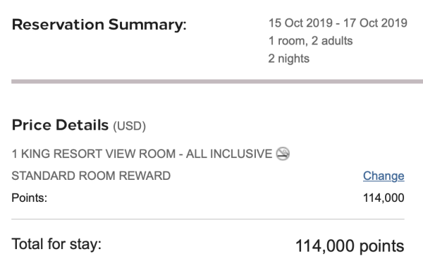 Screen Shot 2019 09 03 at 12.23.56 PM - Don't transfer points: It may be better to book an all-inclusive resort through your credit card portal