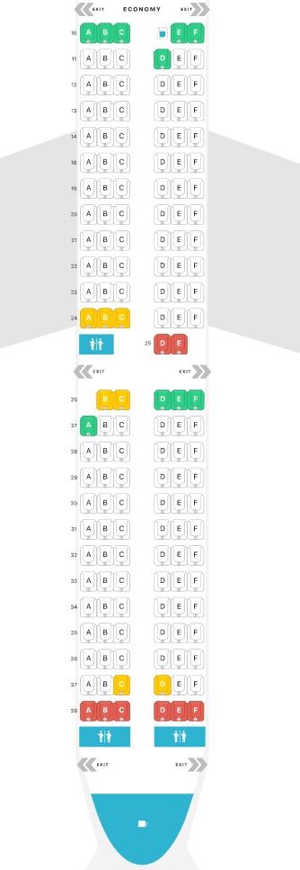 Alaska Airlines A321neo economy cabin configuration