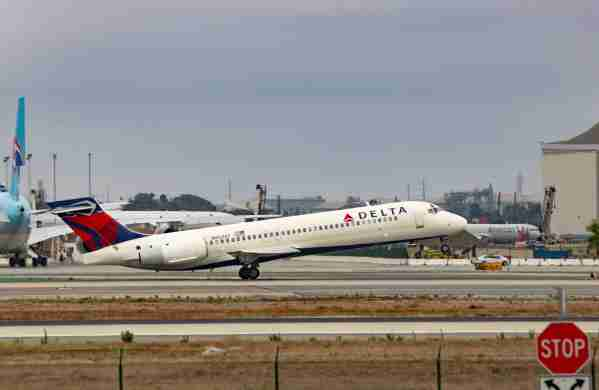 LOS ANGELES, CA - JULY 30: Delta Airlines Boeing 717 takes off from Los Angeles International Airport on July 30, 2017 in Los Angeles, California.  (Photo by FG/Bauer-Griffin/GC Images)