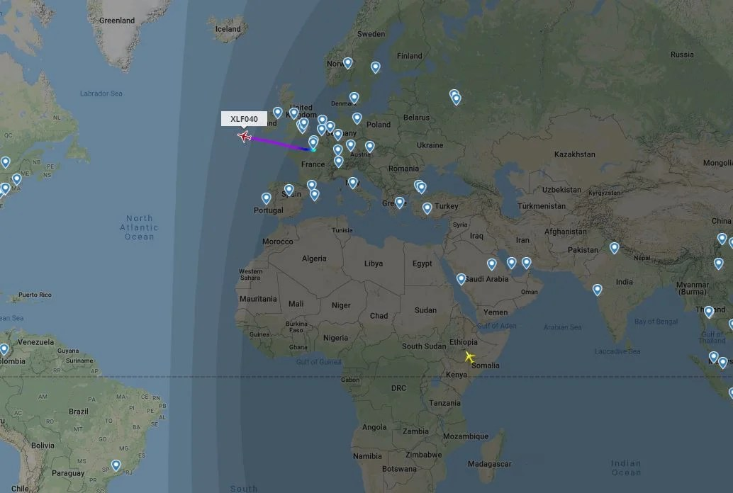 This screenshot from FlightRadar24.com showed two XL Airways flights in the air on the afternoon of Sept. 19, 2020. (Image courtesy of FlightRadar24.com)