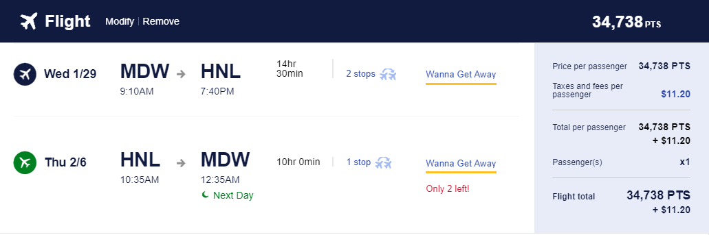 MDW to HNL Southwest Pricing