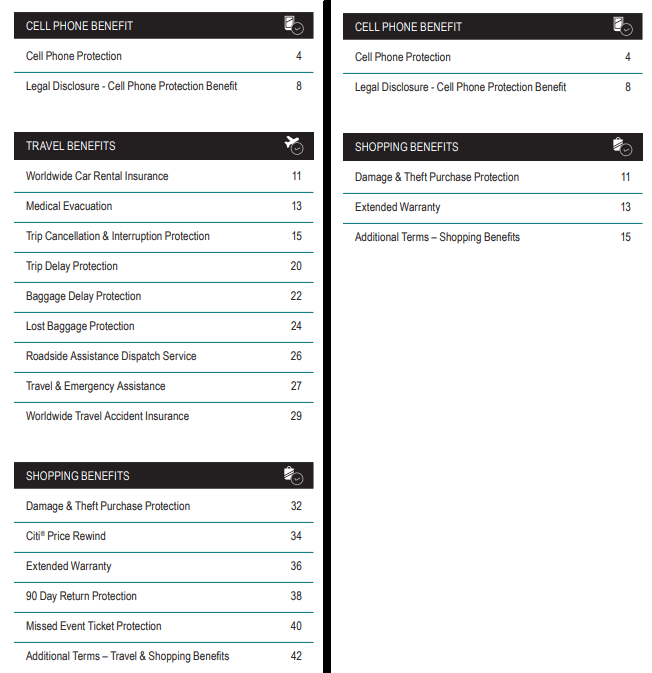 Previous guide to benefits table of contents on the left, current table of contents on the right