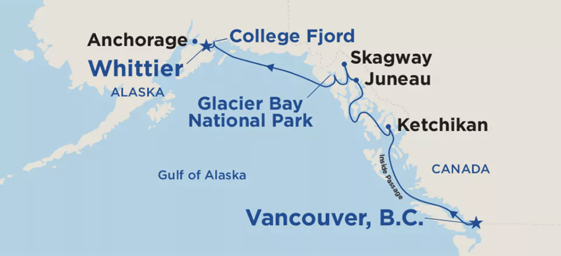 This is an example of a Princess cruise that visits the Inside Passage as well as the Gulf of Alaska, terminating or originating in Anchorage Whittier), Alaska. Photo courtesy of Princess Cruises )