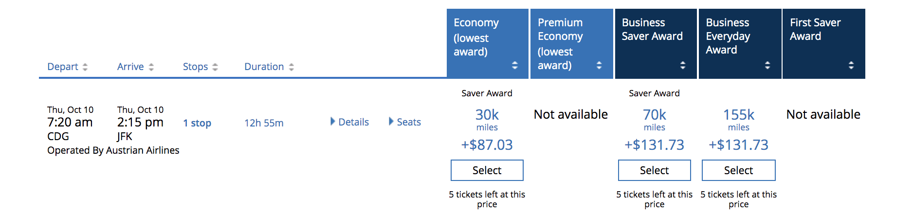 This was the flight I was trying to book. Despite tickets not really being bookable with United miles, these five seats looked like they were available -- even the day after I tried to book them.