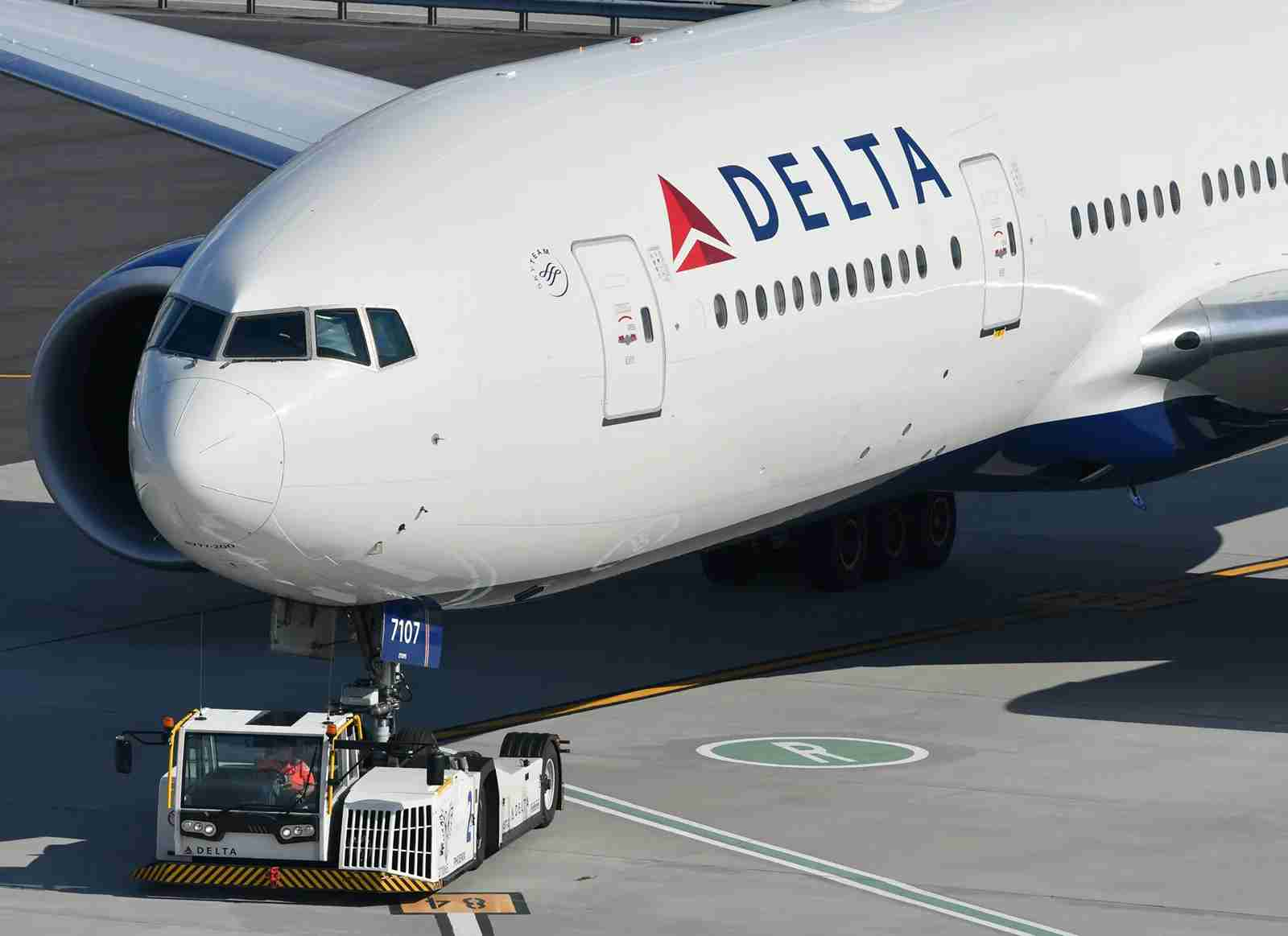 A Boeing 777 being pulled by a tug at Atlanta airport (Photo by Alberto Riva/TPG)
