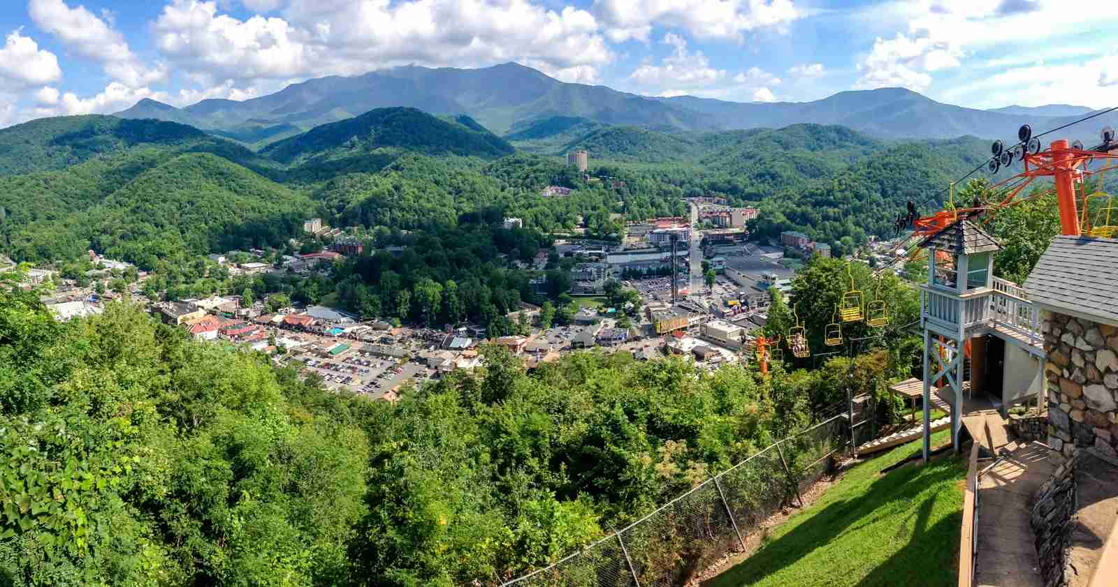 View of Gatlinburg, TN from the chairlift (Photo by Caitlin Riddell/The Points Guy)
