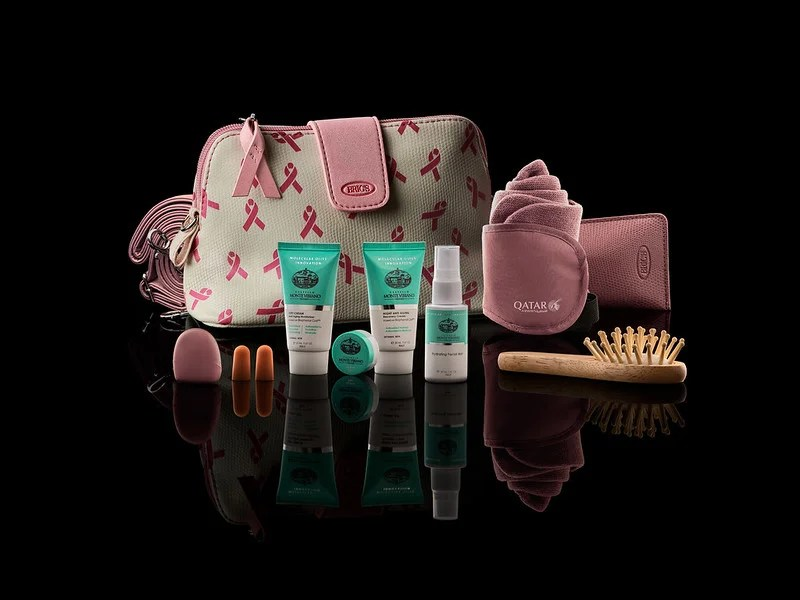 Qatar Airways amenity kits go pink for October to raise awareness for breast cancer