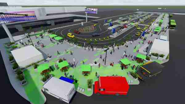 An aerial view of the new LAX-it taxi and ride-hailing pickup lot that opens Oct. 29. (Image courtesy of LAWA)