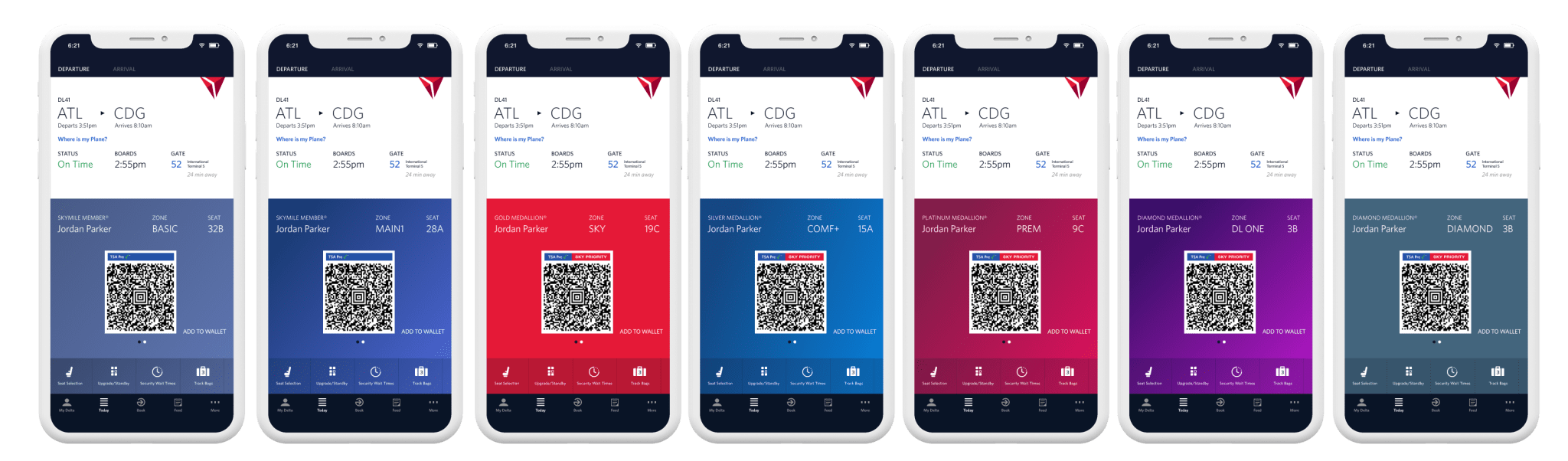 Delta announced a new palette of colors for its mobile app (Image courtesy of Delta Air Lines)