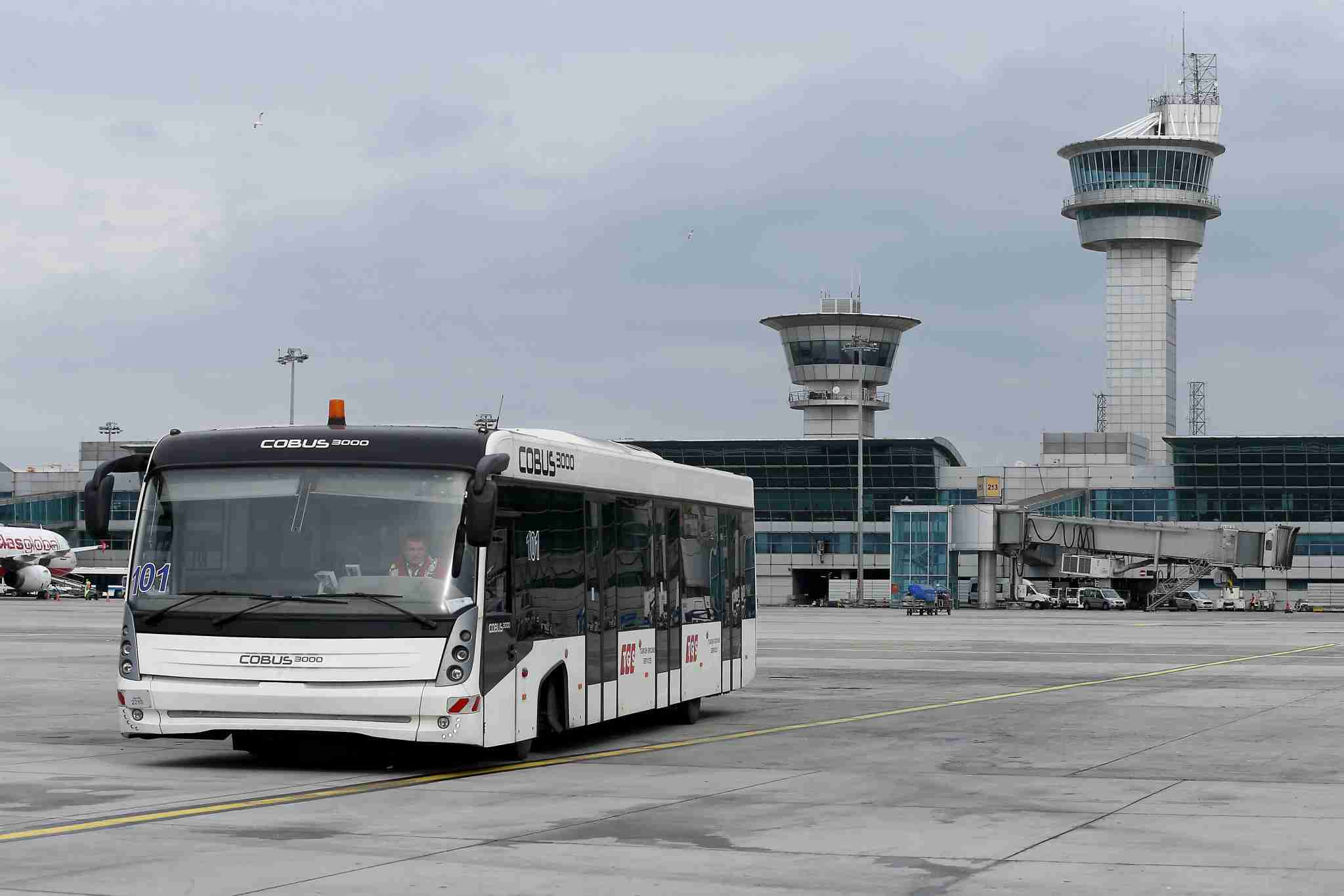 ISTANBUL, TURKEY - MARCH 22: A bus is seen at Ataturk Airport, which is planned to be closed for commercial flights after transference period to Istanbul Airport had been completed, in Istanbul, Turkey on March 22, 2019. Ataturk Airport, which is short of 24 km from the city center, was used for international charter flights for years after coming into service for military purposes in 1912 in Yesilkoy. Civil aviations started in Yesilkoy Airfield in 1933 between Istanbul-Ankara after the military hangar and masonry were assigned to civil aviation. The airport was decided to be an international airport with the purpose of development of Turkish civil aviation with Convention on International Civil Aviation, which was sign on 1944 in Chicago. Construction of the airport had started in 1949 and was completed in 1953 and started its international flights. (Photo by Isa Terli/Anadolu Agency/Getty Images)