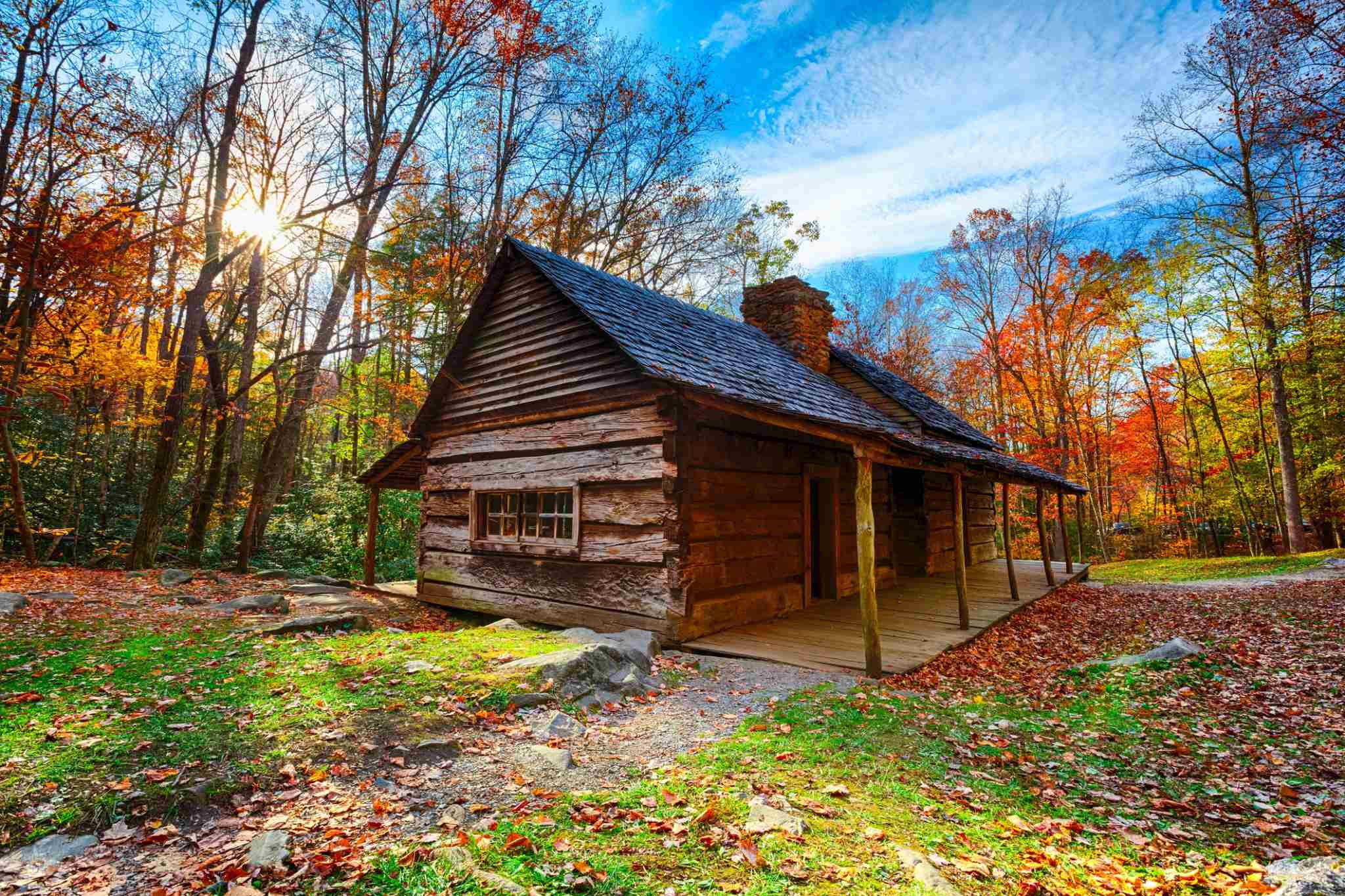 Cabin located in the Great Smoky Mountains National Park in Tennessee, near the village of Gatlinburg.More images from the Great Smoky Mountains NP: Photo by MoreISO/Getty Images