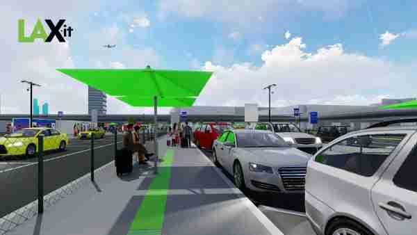 A rendering of the pickup waiting area in the new LAX-it lot. (Image courtesy of LAWA)