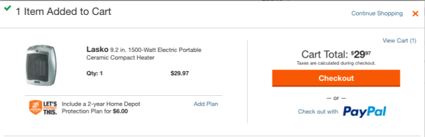 Pay for your HomeDepot.com purchase with PayPal.