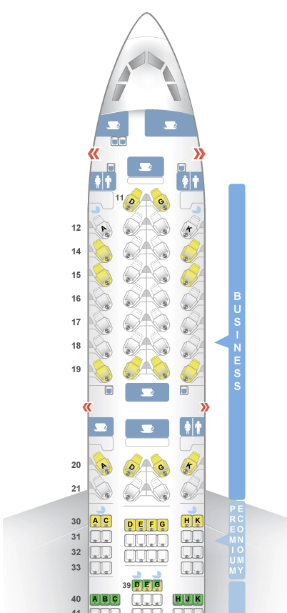 Cathay Pacific A350-900 Business Class and Premium Economy Cabins. Image courtesy of SeatGuru.