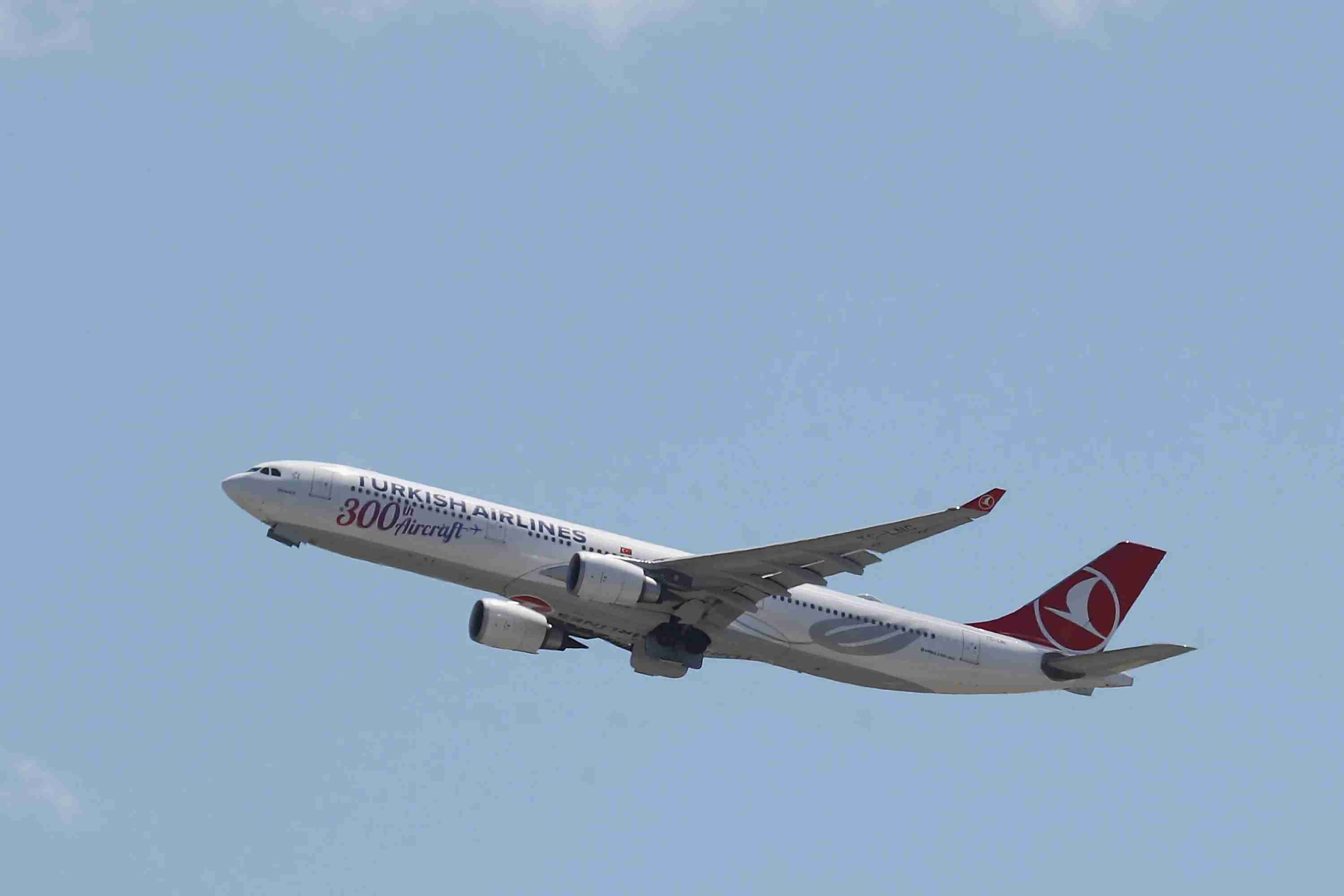 An Airbus A330 operated by Turkish Airlines takes off from JFK Airport on Aug. 24, 2019. (Photo by Bruce Bennett/Getty Images)