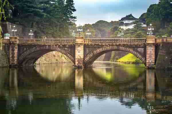 Nijubashi Bridge and the Imperial palace in Tokyo. Photo by