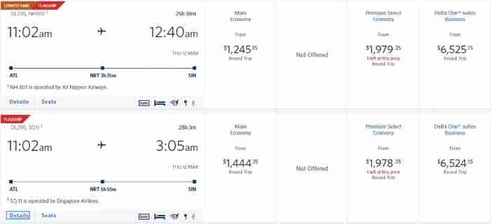 Delta flight search results showing connections to Singapore on Singapore Airlines and ANA.